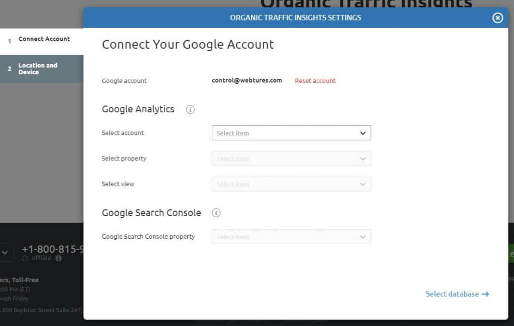 Organic Traffic Insights Settings