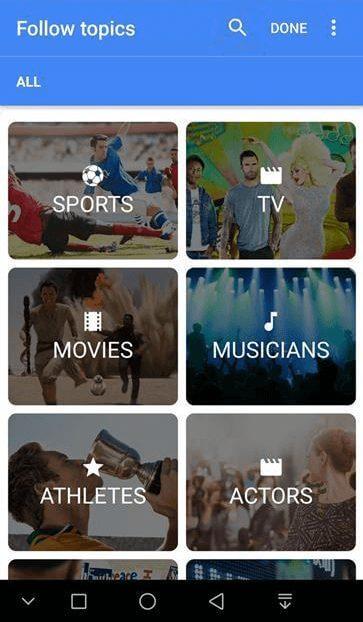 Google Discover çeşitli içerik kategorileri