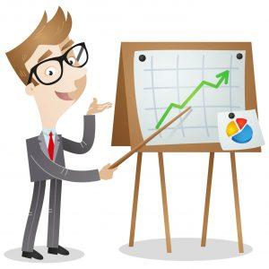 Businessman, presenting growing graph, statistics