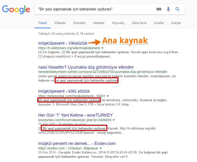 """""""müşkülpesent"""" Google arama sonuçları"""